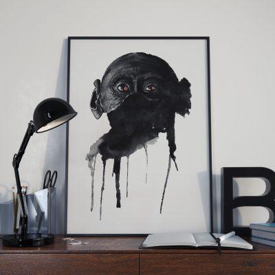 Karl Lagerfeld • Aquarell on vat-paper •Affentäter