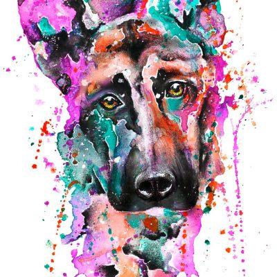 Handdrawn Aquarell on vat-paper • Dog
