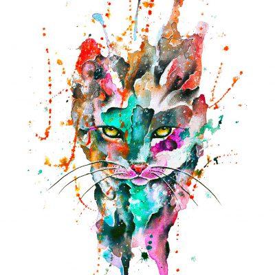 Handdrawn Aquarell on vat-paper • Cat
