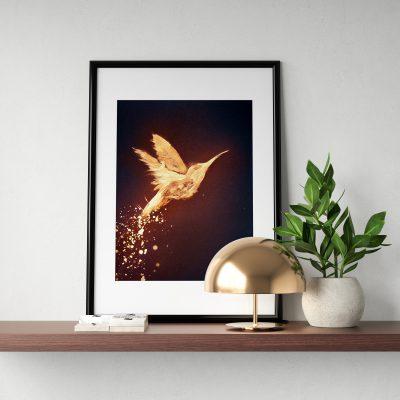 Goldener Kolibri, Acryl