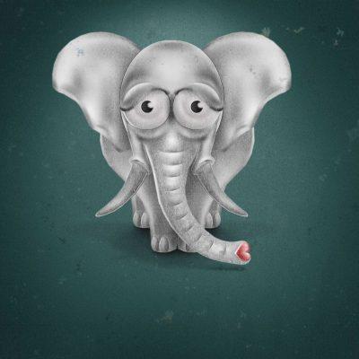 Photoshop-Drawing, Elephant-Illustration, Comic-Style
