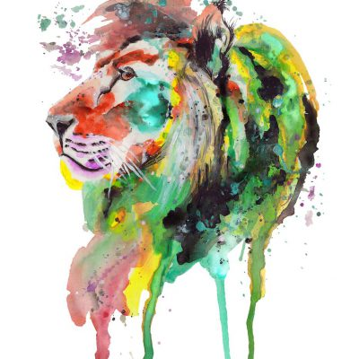 Handdrawn Aquarell on vat-paper • Lion